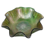 Large, Green, Northwood, Smooth Rays, Carnival Glass Bowl