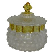 Hobbs Hobnail/Dew Drop, Amber Crested, Satin, Covered Jar