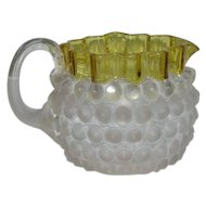Hobbs Hobnail/Dew Drop, Amber Crested, Satin Glass Creamer