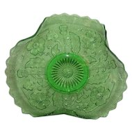 Green, Northwood, Lightning Flower, Tri-Cornered, Whimsy Plate