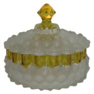 Large, Satin & Amber, Hobbs Hobnail/Dewdrop, Covered Powder Jar