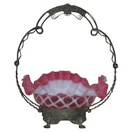 Northwood, Cranberry Opalescent, Lattice, Bride's Bowl,  W/Wilcox Quadruple Plate Stand
