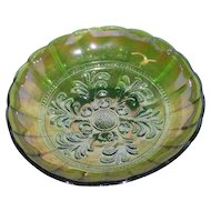 Millersburg, Green, Mayan, Carnival Glass Bowl