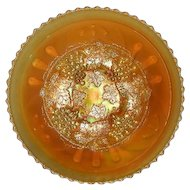 Northwood, Pumpkin Marigold, Spatula Footed, Grape & Cable Carnival Glass Plate