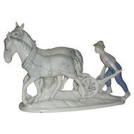 Gerold Porzellan, West German, Man Plowing W/Mules, Porcelain Figurine