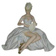 Schaubach Kunst, Germany, Large Porcelain Lady Setting Figurine