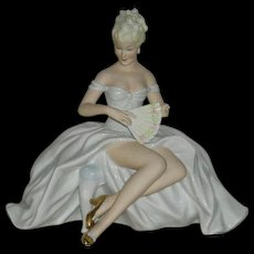 Schaubach Kunst, Germany, Large Porcelain Lady Setting Figurine
