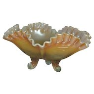 Fenton, Aqua Opalescent/Peach Opalescent, Drapery, Footed Carnival Glass Bowl