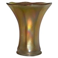 "Imperial, 7"", Smooth Panels, Marigold Carnival Glass Squat Vase"