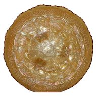 """Fenton, Marigold, 10 1/2"""" Two Flowers ICS Carnival Glass Footed Bowl"""