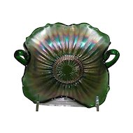 Fenton, Green, Stippled Rays, Carnival Glass Bon Bon