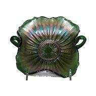 Fenton, Green, Stippled Rays, Carnival Glass Bon Bon