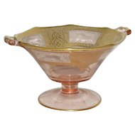Pink, Gold Decorated, Paden City, Tab Handled Black Forest Compote