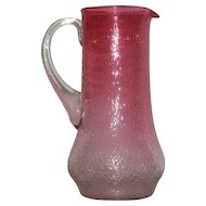 Cranberry, Victorian Art Glass, Hand Blown Tankard Water Pitcher