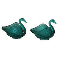 Pair, Fenton, Blue, Swan Salts