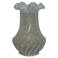 Northwood, White Opalescent Stripe/Swirl Vase