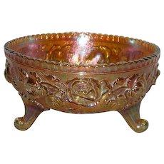 Imperial, Marigold, Lustre Rose Carnival Glass Fernery Bowl