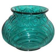 Blue, Fenton, Squat, Bulbous Vase