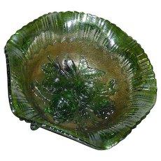 Imperial, Large, Green, Lustre Rose, Carnival Glass Fruit Bowl