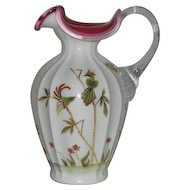 Fenton, Limited Edition, Hand Painted Asian Garden, Peach Blow Crested Pitcher