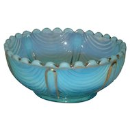 Northwood, Blue Opalescent, Drapery, Berry Bowl