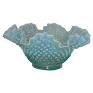"""Fenton, Blue Opalescent 10"""" Hobnail Bowl"""
