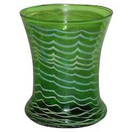 Signed, Green and White, Salamander Art Glass Vase