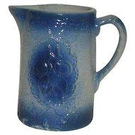 Blue, Salt Glazed, Apricot Pattern, Pottery Pitcher