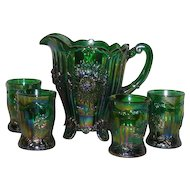 Mosser, Emerald Green, Dahlia, Five Piece Carnival Glass Water Set