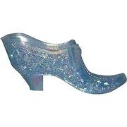 Boyd, Blue, Daisy & Button W/Bow, Carnival Glass Slipper