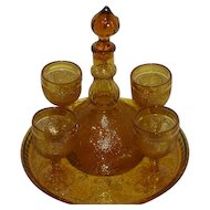 Amber, Tiara, Sandwich Pattern, Six Piece Wine Decanter Set
