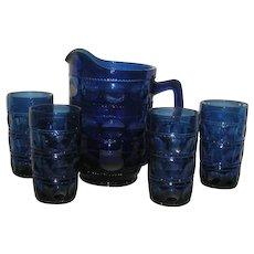 Fenton/Tiara, Cobalt Blue, 5 Pc. Kings Crown Water Set