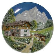 "12"" West German, Alpine Scene, Charger Decorator Plate"