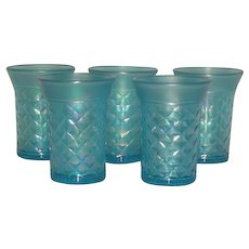 Northwood, Celeste Blue, Concave Diamonds, Carnival/Stretch Glass Tumblers
