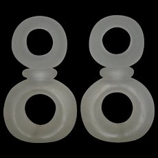 Pair, Large, Satin Glass, Double Doughnut Shaped, Store Display Perfume Bottles