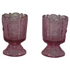 Pair, Fenton, Dusty Rose, Paneled Dandelion Candle Holders