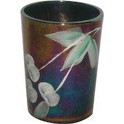 Northwood, Cobalt Blue, Cherries & Little Flowers Carnival Glass Tumbler