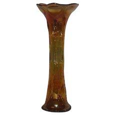 Imperial, Marigold, Beaded Bullseye Carnival Glass Vase