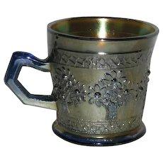 Fenton, Blue, Orange Tree Carnival Glass Shaving Mug