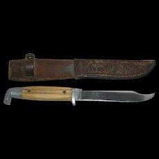 Queen Cutlery, Winter Bottom Bone Handled Fixed Blade Hunting Knife W/Sheath