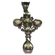 Sterling Silver & Citrine, Cross Pendant