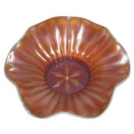 Dugan, Peach Opalescent, Stippled Petals Carnival Glass Bowl