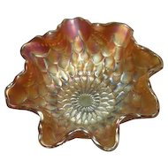 Dugan, Marigold, Fishscales and Beads, Carnival Glass Berry/Sauce Bowl