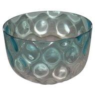 Blue, Victorian, Inverted Coin Dot, Art Glass Bowl