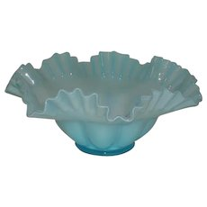 "Fenton, Blue Overlay, 10 1/2"" Double Crimped Bowl"