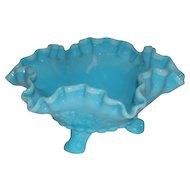 Westmoreland, Blue Marble Slag Glass, Paneled Grape Footed Bowl
