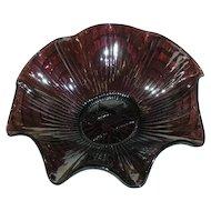 Imperial, Star of David, Amethyst, Carnival Glass Ruffled Bowl