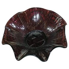 Imperial, Star of David, Amethyst, Carnival Glass Ruffled Bowl