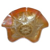 "Dugan, Peach Opalescent, Ski Star 11"", 6 Ruffled Carnival Glass Bowl"