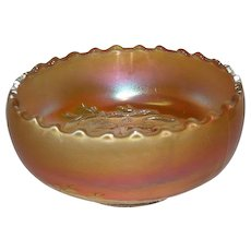Dugan, Marigold, Golden Grape, Carnival Glass Rose Bowl